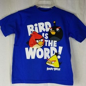 New Angry Birds T-shirt 5/6 Blue Cotton Boys Girls